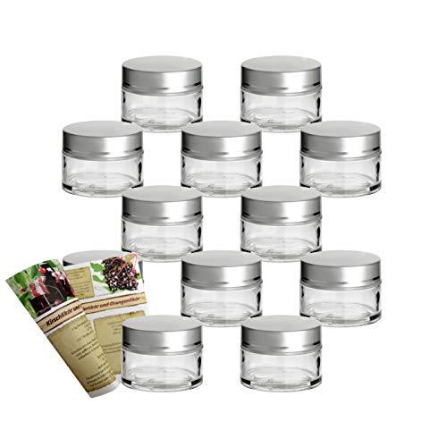 gouveo Set di 12 vasetti vuoti per crema da 15 ml, con tappo a vite argento, barattolo per crema, barattoli, barattoli, mini vetro