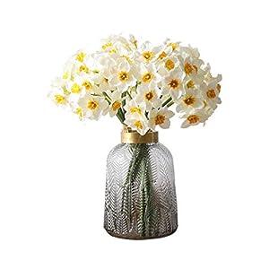Dreamture 6Pcs/Bouquet Artificial Flower Daffodil Silk Flowers Bouquet for Wedding Home Decoration Fake Flower Bouquet