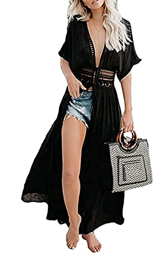 BikiniCache-MaillotsFemmeRobedePlageLongueFemmeSexyCouverturede BikiniCoverUp Blousue Femme Maxi Jupe de Plage DentelleManchesCourtesCol V CreuseTuniqueBeachwear (Noir, S)