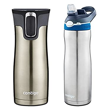 Contigo AUTOSEAL 2 Pack - West Loop Stainless Steel/Black Travel Mug (16 oz) with Chill Stainless Steel/Blue Water Bottle (24 oz)
