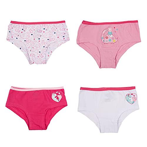 United Labels Peppa Wutz Mädchen Kinder Panty Slip Unterhose Unterwäsche Rosa / Weiß (4er Pack) (98-104)