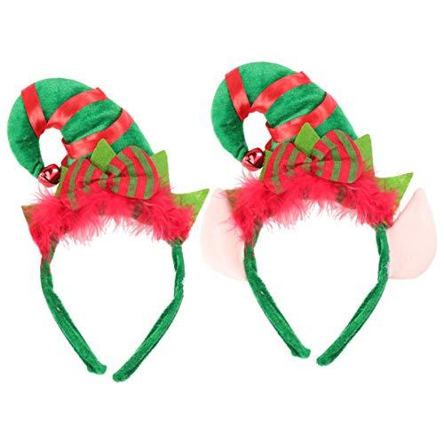 Lurrose 2 piezas diadema de navidad sombrero de duende aro de pelo diadema de duende linda diadema duendes sombreros de fiesta con cascabeles pluma para carnaval de fiesta de santa