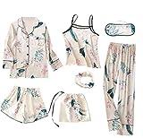 Las mujeres pijama señoras de seda dormir camisón pijama de raso noche del traje del vestido Pijamas L 7PCS
