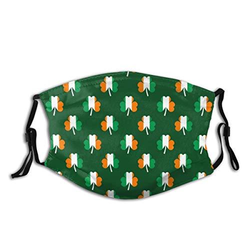 NIET Unisex Gezichtskap Verstelbare Anti Stofzuiger Mond Cover Wasbaar Herbruikbare Gezichtskap voor Fietsen Camping Reizen-Irish Vlag Groen Wit Oranje Op Groen