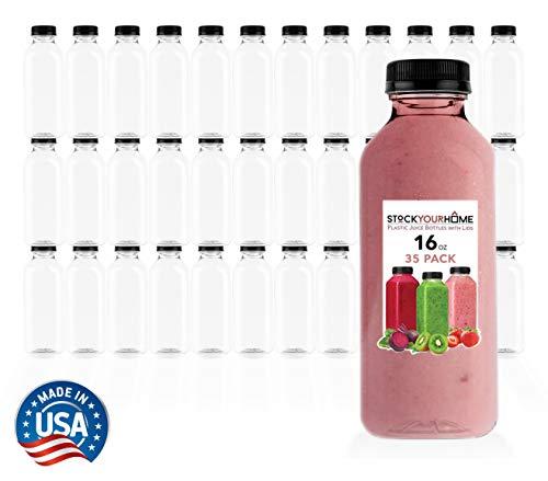 Plastic Juice Bottles with Lids,...