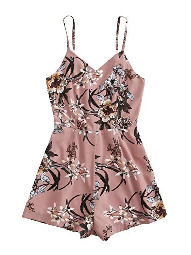 SheIn Women's Casual Strappy V Neck Floral Print Zipper Back Cami Romper Jumpsuit Pink Small