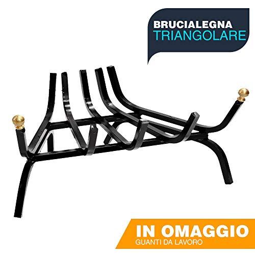 Brucialegna per camino CM 40 griglia per camino in ferro battuto triangolare braciere in ferro per camino caminetto - FANTASTICO OMAGGIO A SORPRESA