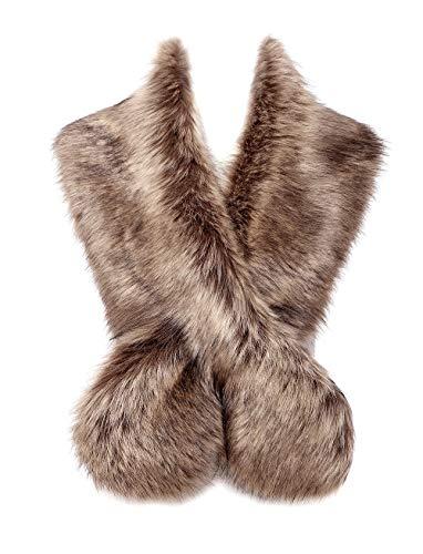 Changuan Womens Faux Fur Collar Shawl Faux Fur Scarf Wrap Evening Cape for Winter Womens Coat Raccoon 125cm