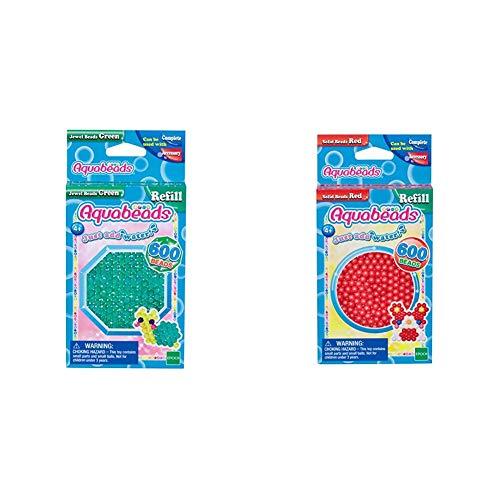 Aquabeads 32698 Glitzerperlen Bastelperlen nachfüllen grün & 32508 Perlen rot