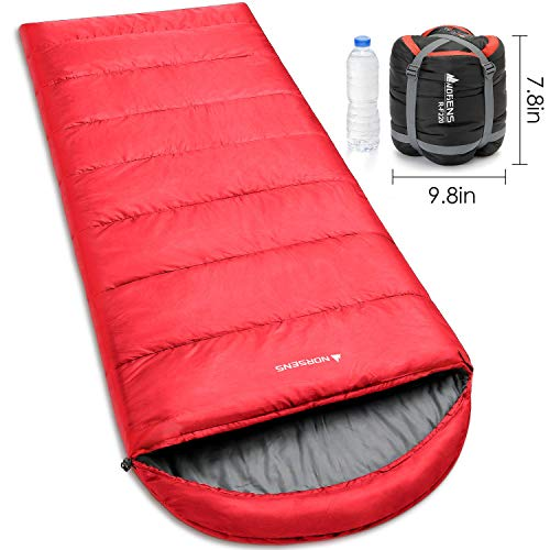 NORSENS Ultralight Hiking Sleeping Bag, 3 Season Warm & Cold Weather, Lightweight Small Compact Envelope Sleeping Bags for Adults Comfort Backpacking, Gray/Red (red with 3.6lb)