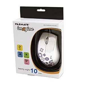 Wintec FileMate Imagine Series M2810 USB Standard Mouse - White with Blue Lilac (3FMNM2810UPU-R)