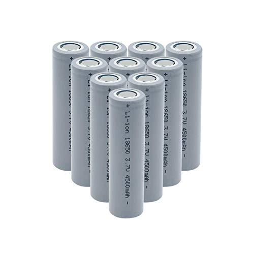 RitzyRose Batería de iones de litio de 3,7 V, 4500 mAh, 18650, batería recargable para linterna, 10 unidades