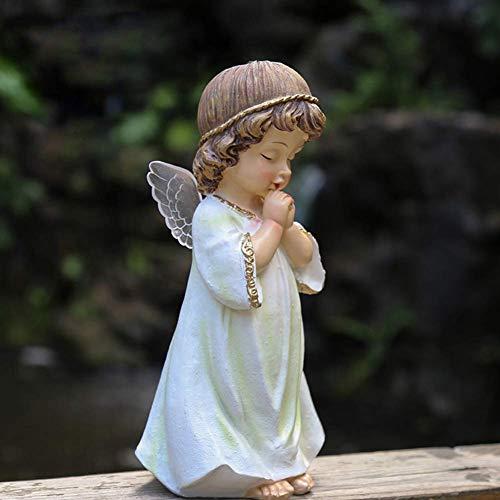 XH&XH Prier Angel Statue Mini Chérubin Figurine Résine Memorial Sculpture Souvenir Religieux Mémorial Ange Gardien Jardin Décor Cadeau Petite Fille.9x9x20cm (4x4x8 pouces)