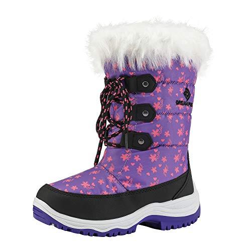 DREAM PAIRS Little Kid Nordic Purple Knee High Winter Snow Boots Size 3 M US Little Kid