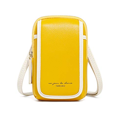 Bolso Bandolera para teléfono Celular, Cartera de Cuero Suave de PU Monedero práctico Mini Billetera Bolso de Hombro con Correa (Amarillo)