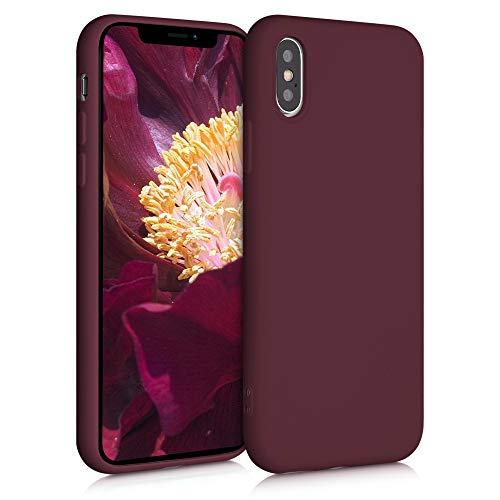 kwmobile Funda Compatible con Apple iPhone XS - Carcasa de Silicona TPU para móvil - Cover Trasero en Rojo Vino