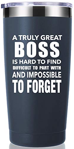 A Truly Great boss is Hard to Find 20 OZ Tumbler.Bosses Day Gifts.Leaving Moving Appreciation Retirement Birthday Christmas Gifts for Women Men Manager Director Boss,Boss Lady Mug(Navy Blue)