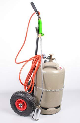 Bio Unkrautbrenner PRO mit Flaschenwagen Unkrautvernichter Gasbrenner Gasflaschen-Wagen