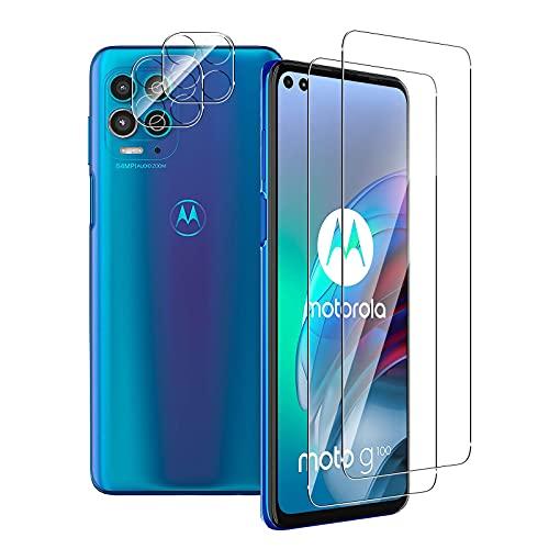 Aerku Panzerglas Schutzfolie Kompatibel mit Motorola Moto G100 + Kamera Schutz [2+2 Stück], 9H HD Folie Anti-Kratzer Bildschirmschutzfolie Ultra Glatte Film Bildschirmschutz-Transparent