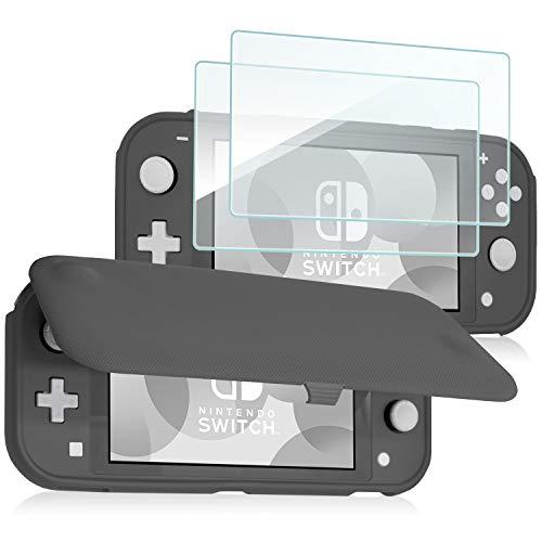 ProCase Klapp Schutzhülle + (2 Stück) Panzerglas für Nintendo Switch Lite 2019, Weich dünn TPU Stoßfest Hülle + 2 Hartglas Blasenfrei Displayschutzfolien aus gehärtetem Glas –Grau