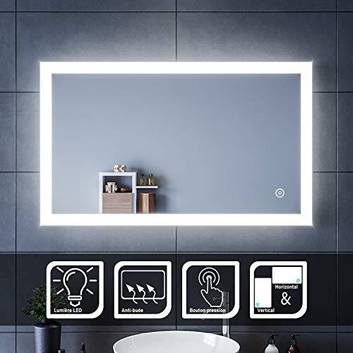 SIRHONA 100x60cm Miroir de Salle de Bains avec éclairage LED Miroir Cosmétiques Mural Lumière Illumination avec Commande par Effleurement/Anti-buée