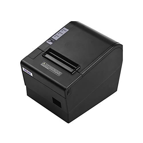 Fesjoy Imprimante de ticket thermique 80mm avec interface de coupe automatique USB Ethernet Impression de billets compatible avec les commandes d'impression ESC/POS pour le magasin à domicile
