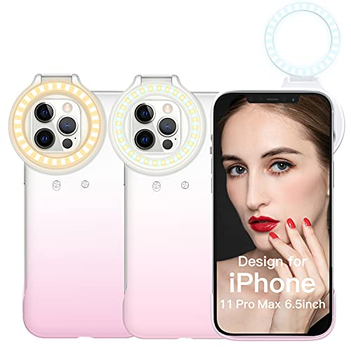 Selfie Ring Light Phone Case for iPhone 11 Pro Max, ORDA Light Up Case 3 LED Light Modes Illuminate for Women to Live Streaming/Makeup Tutorial/YouTube Video/Tiktok Photography