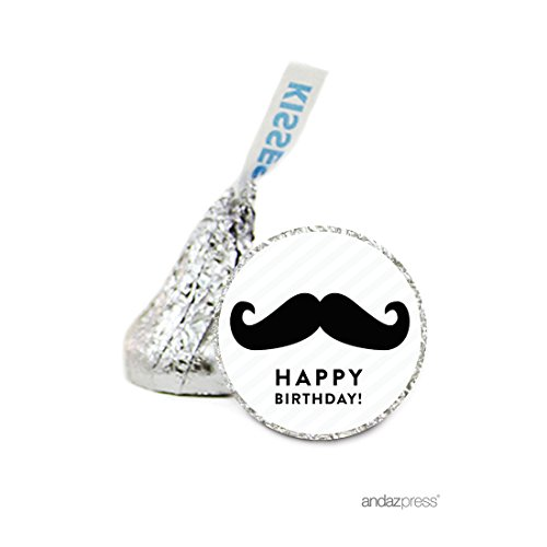 Andaz Press Chocolate Drop Labels Stickers, Birthday, Vintage Mustache, 216-Pack, for Hershey's Kisses Party Favors, Gifts, Decorations