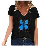 YANFANG Camiseta de Manga Corta con Estampado de Mariposa y Cuello en V Informal de Moda para Mujer XXLBlack