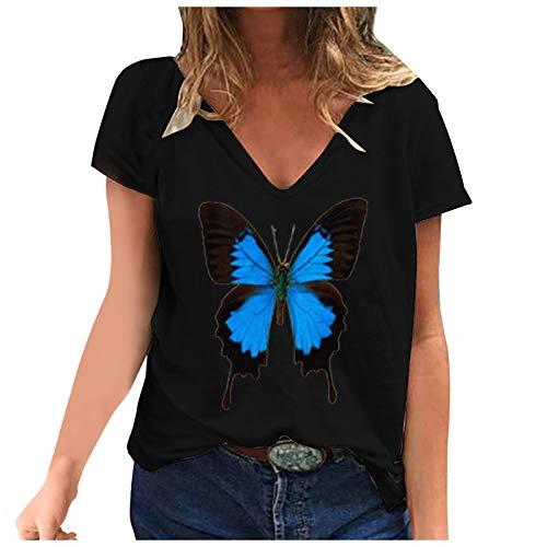 YANFANG Camiseta de Manga Corta con Estampado de Mariposa y Cuello en V Informal de Moda para Mujer XXXXXLBlack