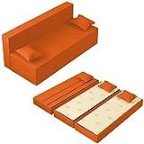 Baldiflex Sofá Cama de 3Plazas Espuma viscoelastica, Modelo TreTris. Confortable Funda extraíble y Lavable. Color Arancio.