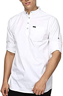 Urbano Fashion Men's Cotton Full Sleeve Short Kurta Shirt with Mandarin Collar
