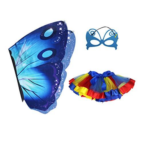 Fenical 3 pcs Kinder Schmetterling Kostüm Karneval Tinkerbell Fee Flügel Rock Mask Set Kinder Mädchen (Blau)