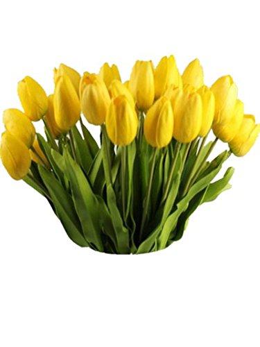 Igemy Tulpe-künstlicher Blumen Latex reale Noten Brauthochzeits Blumenstrauß Ausgangsdekor, 10pcs (Yellow)