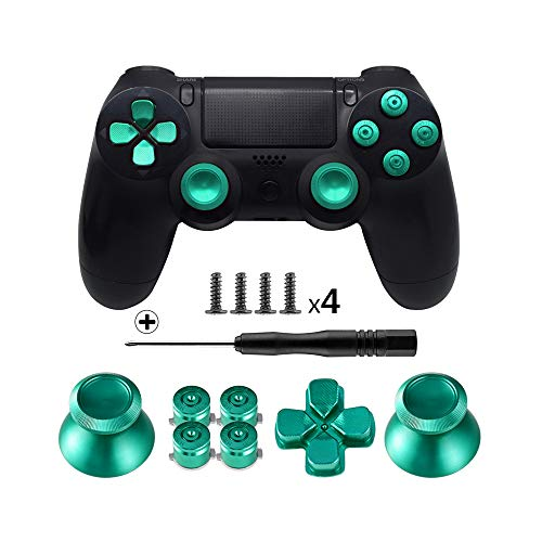 TOMSIN Metal Buttons for DualShock 4, Aluminum Metal Thumbsticks Analog Grip & Bullet Buttons & D-pad for PS4 Controller (Green)