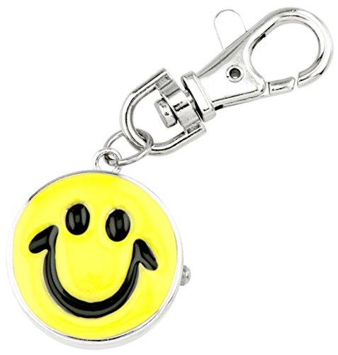JAS Unisex Novelty Belt Fob/Keychain Watch Smiley Face Silver Tone