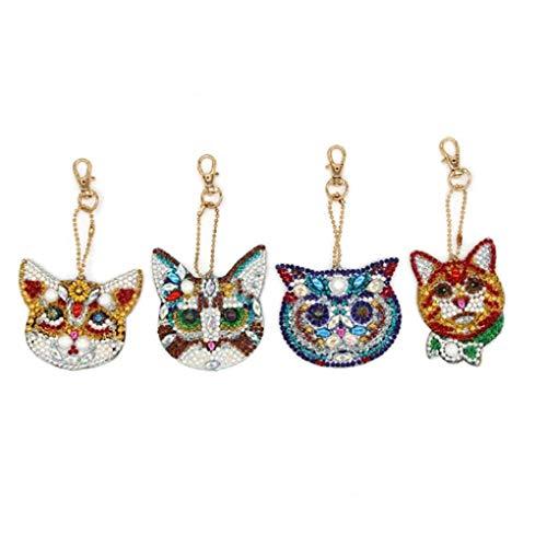 5D Diamond Painting DIY Keychains Full Drill Cat Ornament Keyrings 4pcs/Set