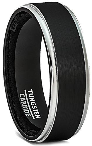 Duke Collections 6mm Negro Anillo de tungsteno Cepillado Plata Paso Edge Comfort Fit