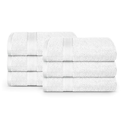 TRIDENT White Wash Towel, 6 Piece Bathroom Towel, 100% Cotton, Highly Absorbent, Super Soft, Soft and Plush, 500 GSM (White)