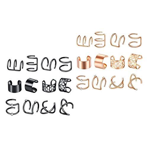 freneci 24 Piezas de Moda Ear Cuff Non-Piercing Ear Clip On Wrap Pendientes Aro