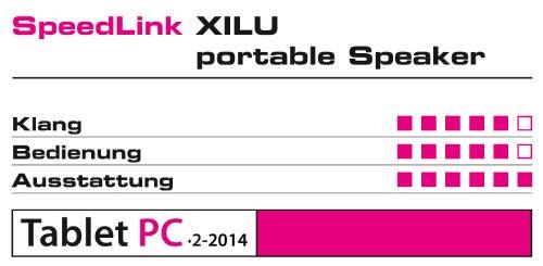 Speedlink Xilu Aktiver kabelloser Bluetooth-Lautsprecher (2,5 Watt RMS, 6 Std Akkulaufzeit, Aluminiumgehäuse, Freisprechfunktion, 5×5×5cm)