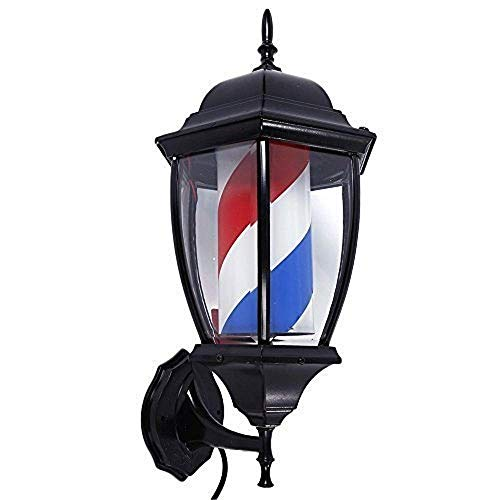 Mefeir 20 inch Barber Pole LED Light Porch Style,Hair Salon Barber Shop Open Sign,Rotating Red White Blue Spinning LED Strips,IP44 Waterproof