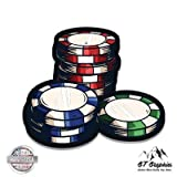GT Graphics Poker Chips - 3' Vinyl Sticker - for Car Laptop I-Pad Phone Helmet Hard Hat - Waterproof Decal