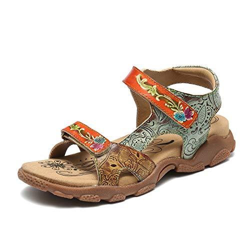 gracosy Sandalias Planas Mujer Verano Zapatos Hook Loop Sandalias de Cuero con Plataforma Tirantes de Playa Huecos Correas Ajustables Tacones Bajos Correas Deportivas cómodas Zapatos para Caminar