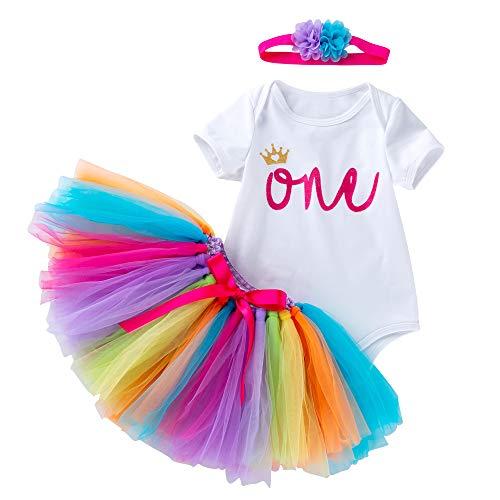 Baby-Mädchen Erster Geburstag Crown Spielanzug Stirnband Rock (9-12monate, Rainbow)