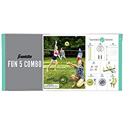 commercial backyard volleyball set Franklin Sports Fan 5 Combo Set-Badminton, Pump Volleyball, Hoop Throw, Flip Throw, Flying Disc