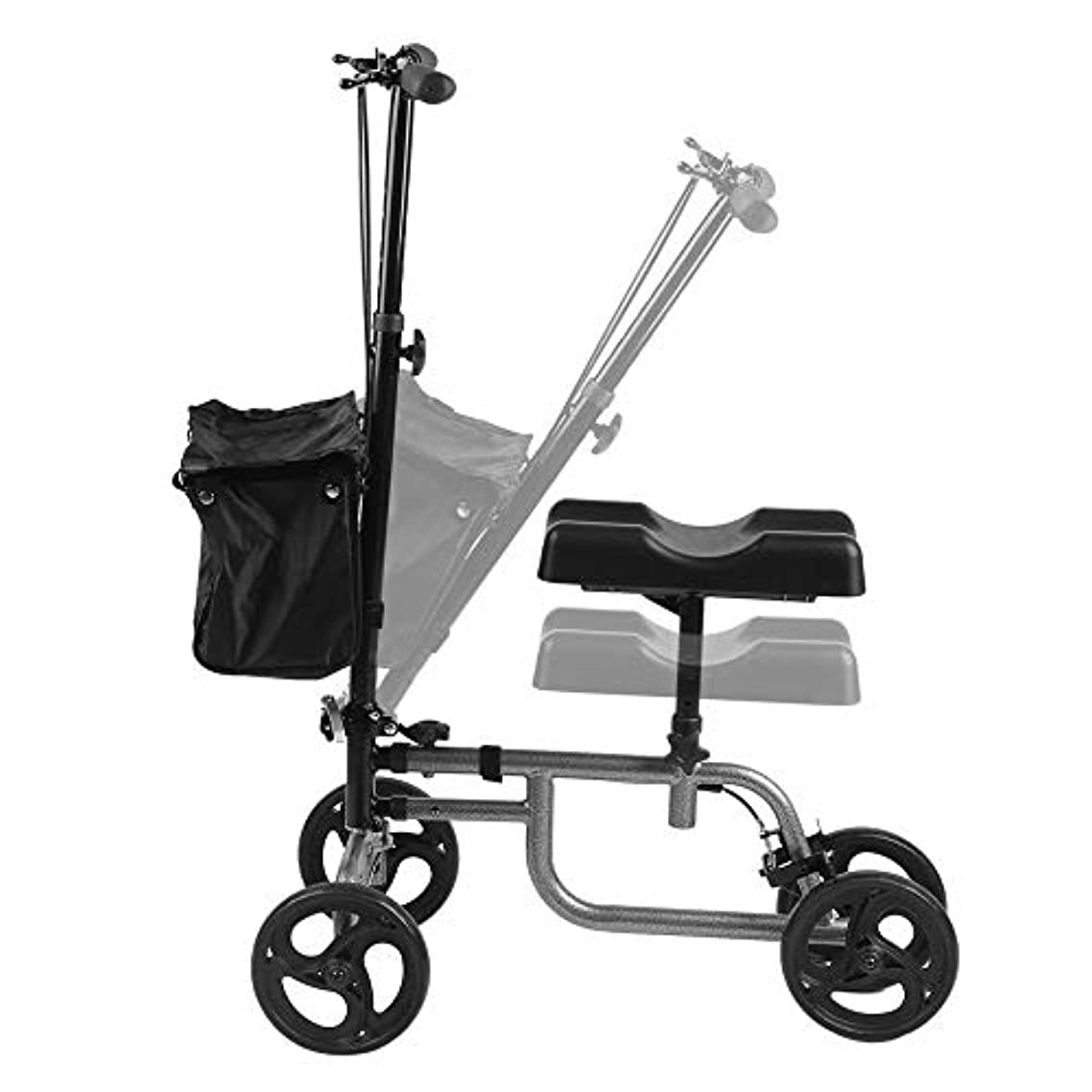 Simoner Foldable Steerable Knee Walker Scooter, Four Wheel Balance Quadricycle Turning Brake Basket Medical Drive, Black