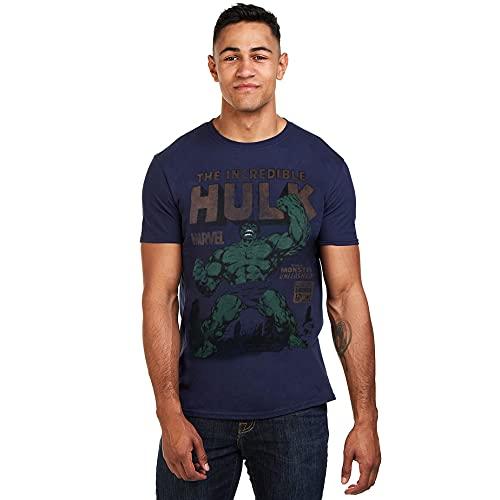 Marvel Hulk Rage Camiseta, Azul (Navy Navy), Large (Talla del Fabricante: Large) para Hombre