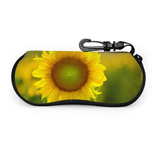 Caso de gafas Estuches de gafas Golden Yellow Bloom Sunflowers Cases Estuche de gafas de sol de neopreno con cremallera suave Bolsa protectora para gafas