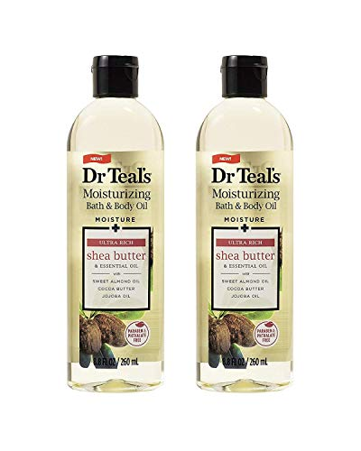 Dr. Teal's Moisture + Ultra Rich Shea Butter & Essential Oil Moisturizing Bath & Body Oil 8.8oz Pack of 2